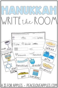 Practice and learn Hanukkah vocabulary with this write the room activity for literacy centers!