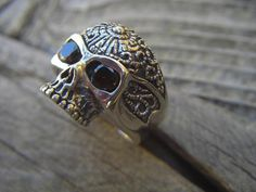 Sugar skull ring in sterling silver with black cz's by Billyrebs, $118.00