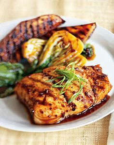 Grilled Halibut, Eggplant, and Baby Bok Choy with Korean Barbecue Sauce Recipe  at Epicurious.com