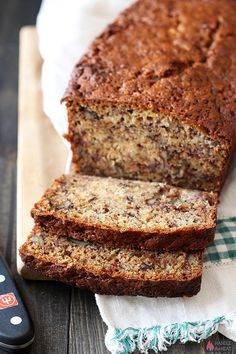 Butter Pecan Banana Bread - A fun twist on the classic recipe with lots of buttery, nutty flavor and soft yet crunchy texture. It's our new favorite!
