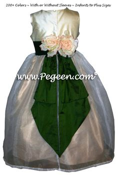 fbeb0acbc Wheat (gold), Parsley Green and Buttercreme Silk Flower Girl Dress with  Bustle and