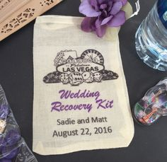These cotton drawstring bags make the perfect wedding favor! Fill them up with band aids, Advil, emergen C, or anything else to help your guests survive the champagne and table dancing! These are a gu