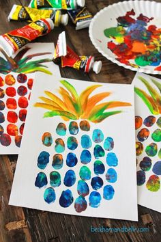 DIY Pineapple Thumbprint Art
