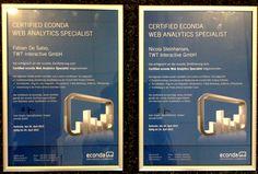 """Herzlichen Glückwünsch! Unsere TWTler Nici und Fabian sind frisch zu """"Certified Econda Web Analytics Specialist"""" ausgezeichnet worden. Mit der Auszeichnung bauen wir die professionelle Web Analyse mit econda noch weiter aus."""