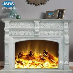 Stone Carved marble fireplace mantel Marble Fireplace Mantel, Marble Fireplaces, Fireplace Surrounds, Fireplace Mantels, Marble Carving, Wooden Crates, Animal Sculptures, Travertine, White Marble