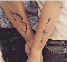 Couple Matching Tattoos Ideas For Valentine's Day;Tattoos couples tattoo 30 Valentine's Day Couple Matching Tattoo Designs - Page 3 of 30 Mini Tattoos, Body Art Tattoos, Sleeve Tattoos, Cat Tattoos, Thigh Tattoos, Arrow Tattoos, Partner Tattoos, Marriage Tattoos, Relationship Tattoos