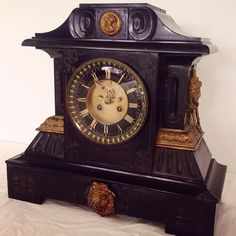 #Victorian #Belgian black slate mantle #clock lot 132 in our #Antiques #Collectables & #Interiors #auction this Weds. View catalogue and more at townsend-auctions.co.uk #victorianclocks #antiqueclock #clockcollector #mantleclocks