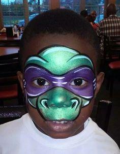 Teenage mutant ninja turtle face paint design.