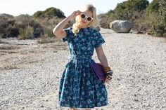 VTG 1950s 50s Mode O'Day Spotted & Floral Dress w/ Matching Waist Belt M/L. $118.00, via Etsy.