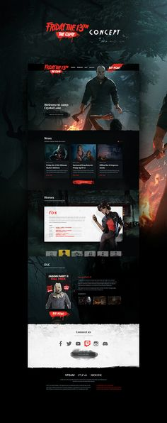 Friday The Game website on Behance Website Design Layout, Web Layout, Layout Design, Design Sites, Web Design Examples, Game Ui Design, Web Ui Design, Friday The 13th Games, 13 Game