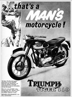 A man can not climb down a high cliff fast enough to get to his Triumph - Tiger 110 advertisement