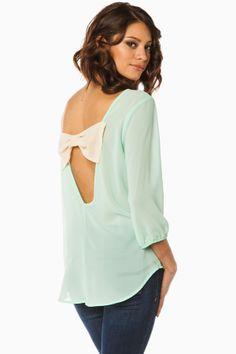 Frances Bow Blouse in Mint / ShopSosie #mint #bow #detail #chiffon #blouse #shopsosie