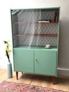 - Scandinavian bookcase / showcase from the - - Dimensions: x x - - Colors: Almond green / Natural wood - - Large space . Upcycled Furniture, Furniture Projects, Furniture Makeover, Vintage Furniture, Painted Furniture, Diy Furniture, Furniture Design, Scandinavian Bookcases, Graffiti Room