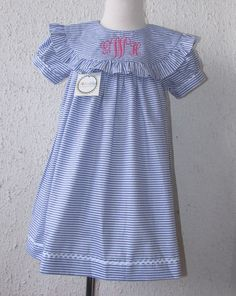 Girls Monogram dress spring Float Monogram dress sz by handsmocked, $37.00
