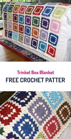 Trinket Box Blanket Free Crochet Pattern #crochet #style #home #homedecor #yarn #crafts Crochet Squares Afghan, Crochet Quilt, Granny Square Crochet Pattern, Crochet Yarn, Crochet Stitches, Free Crochet, Granny Squares, Crochet Afghans, Afghan Patterns
