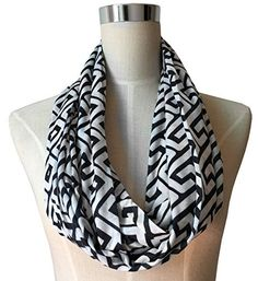 Women's Greek Key Pattern Infinity Scarf with Zipper Pocket - Black - Pop Fashion
