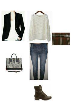 Blazer preto, jeans, coturno marrom, blusa tricot branca, cachecol xadrez