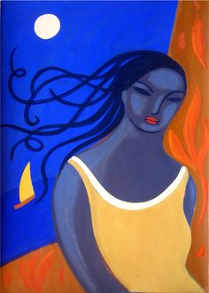 woman on blue by carmenga on Etsy