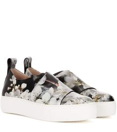 CALVIN KLEIN COLLECTION Ariel printed leather slip-on sneakers. #calvinkleincollection #shoes #sneakers