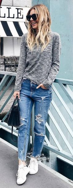 street style perfection top + ripped jeans + sneakers