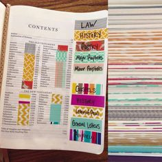 Bible tabs using washi tape
