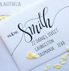 Announce your big day with elegance and style with custom hand lettered wedding envelopes. Hand lettered by me in my modern calligraphy style Envelope Lettering, Calligraphy Envelope, Envelope Art, Envelope Design, Wedding Calligraphy, Calligraphy Letters, Brush Lettering, Modern Calligraphy, Caligraphy