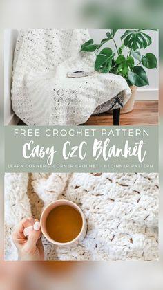 Diy Crochet Afghan, Afghan Crochet Patterns, Diy Crochet Projects, Crochet Ideas, Crochet Basics, Crochet For Beginners, Crochet Blankets, Baby Crafts, Crochet Designs