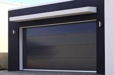 @avivbeber3 Black insulated panel contemporary garage door. Stainless steel garage door, perfect for contemporary style houses www.garagedoor4less.com