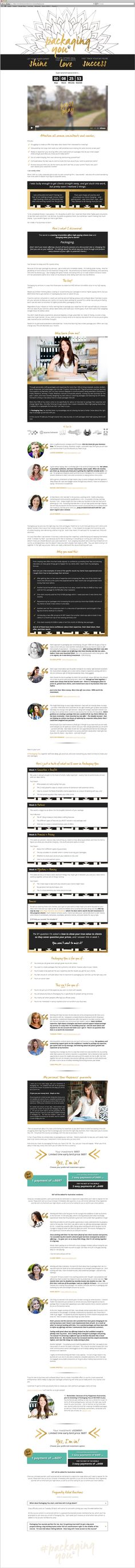 Packaging You sales page