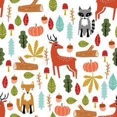 autumn fall woodland cute animals fox deer raccoon leaves logs fabric by charlottewinter on Spoonflower - custom fabric