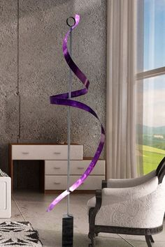 NOT in purple But love the height and line. Modern Metal Abstract Purple Freestanding Sculpture Outdoor Garden Art / Ribbon Dancer Jon Allen. $325.00, via Etsy.