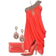 A fashion look from July 2013 featuring Alice + Olivia pumps, Gucci clutches and Meghna Designs earrings. Browse and shop related looks. Party Dress Outfits, Cute Skirt Outfits, Classy Outfits, Pretty Outfits, Beautiful Outfits, Casual Outfits, Girl Fashion, Fashion Outfits, Womens Fashion