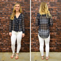 This sheer, button up, hi-lo plaid top is one of our favorites! -  $33 #springfashion #spring  #fashionista #shoplocal #aldm #apricotlaneboutique #apricotlanedesmoines #shopaldm #desmoines #valleywestmall #fashion #apricotlane #newarrival  #shopalb  #ootd #westdesmoines  #shopapricotlaneboutiquedesmoines #ontrend