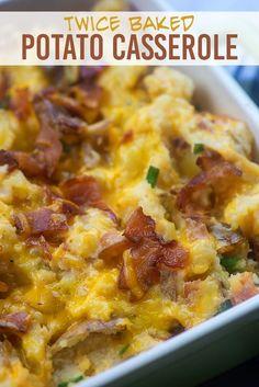 Twice baked potato casserole! This potato casserole is loaded with good stuff! Twice baked potato casserole! This potato casserole is loaded with good stuff! Loaded Baked Potato Casserole, Potatoe Casserole Recipes, Loaded Baked Potatoes, Potato Recipes, Vegetable Recipes, Cheesy Potatoes, Potato Dishes, Mashed Potatoes, Side Dish Recipes