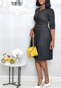Black Pleated Single Breasted Belt Bow High Waisted Ruched Elegant Party Midi Dress Source by baricah dresses black Beautiful Casual Dresses, Classy Dress, Elegant Dresses, Sexy Dresses, Formal Dresses, Wedding Dresses, Modest Dresses, Pretty Dresses, Blue Dresses