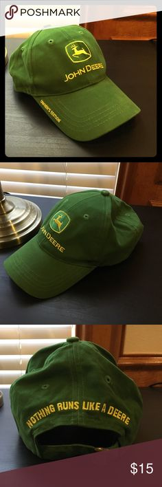 John Deere Owners Edition Cap Awesome cap! I would keep, but I don't look good in caps :( 100% cotton is so soft, it feels like velvet. Adjustable. Classic John Deere green and yellow embroidery. Excellent condition!!! Looks like only a teeny tiny rub spot on the button on top. John Deere Accessories Hats