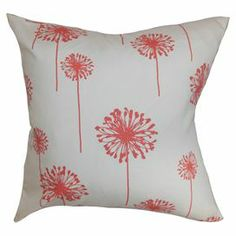 """Cotton floral pillow with a feather-down fill. Made in the USA.  Product: PillowConstruction Material: Cotton cover and feather down fillColor: White and coralFeatures:  Insert includedMade in the USA Dimensions: 18"""" x 18"""""""