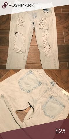 Ripped jeans Cute blue ripped jeans. Selling because they don't fit anymore. Only worn 3 times. Boohoo Jeans Boyfriend
