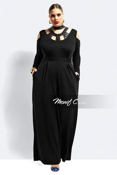 Monif C Plus Size Clothing Curvy Girl Fashion, Plus Size Fashion, Ladies Fashion, Womens Fashion, Leather Jumpsuit, Black Jumpsuit, Plus Size Jumpsuit, Funny Fashion, How To Feel Beautiful