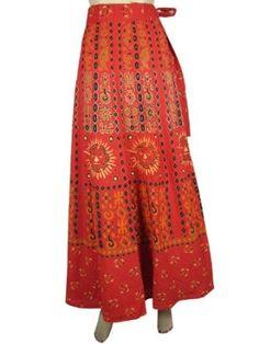 Long Skirt, Women Wrap Skirt Bohemian Orange Red Sun Moon Print Wrap Around Skirt: Clothing $26.95