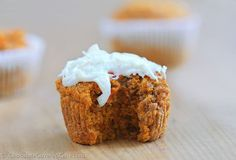 The recipe for fluffy & secretly healthy carrot cake cupcakes that can be sugar-free, gluten-free, high-fiber, low-calorie, and with an astounding 74% of your recommended Vitamin A in one cupcake! Recipe here: http://chocolatecoveredkatie.com/2015/04/01/healthy-carrot-cake-cupcakes/