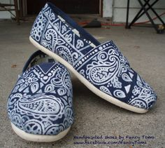 Hand-painted Custom Toms Shoes - Paisley Design.