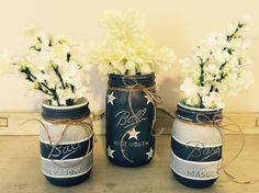 Dallas Cowboys Football painted chalk paint mason jar vase set pint quart Ball by MonogramedMemories on Etsy https://www.etsy.com/listing/272118230/dallas-cowboys-football-painted-chalk
