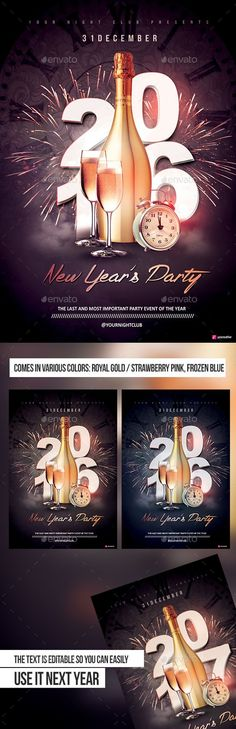 New Year's Party Flyer Template PSD #design #nye Download: http://graphicriver.net/item/new-years-party/13942902?ref=ksioks: