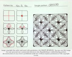 Online instructions for drawing Hsin-Ya Hsu's Zentangle® pattern: Croscro.