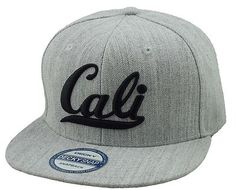 New Vintage Cali 3D Embroidery Flat Bill Snapback Cap Hip Hop Hat Heather Gray