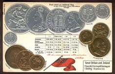 Great Britain & Ireland Coinage Postcard National Flag, Old Postcards, Gold Coins, Great Britain, Ireland, Hobbies, Silver, Coining, Money