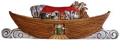 Noah's Ark Door Topper Carved Wall Art. My Noah's Ark Door Topper is created from original wood carving of Noah's Ark. I hand cast each door topper is a durable composite material and then hand paint and stain each one which captures all the detail and dimension of my original wood carving. The door topper measures 32 inches wide and 10 inches high and about 3/4 inch deep. There is a recessed hanger in the back for easy hanging.