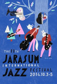 The 11th Jarasum International Jazz Festival. Cute poster by Yeji Yun.