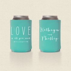 Love is All You Need Wedding Koozies Design 1 - Wedding Favor - Pick Your Quantity